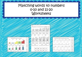 Matching Words to Numbers Worksheets 0-10 and 11-20