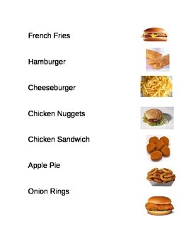 Matching Words to Pictures for Common Fast Foods