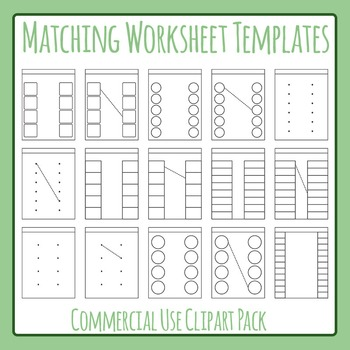matching worksheet template layout clip art set for commercial use