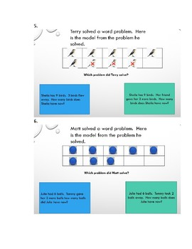 Matching a model to an addition or subtraction word problem