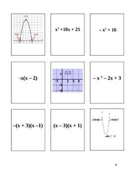 Matching a trinomial to its factored form, zeros, and graph