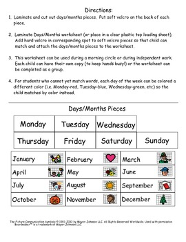Matching and Identifying Days and Month for Kids with Autism.