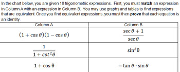 Matching and Proving Trig Identities