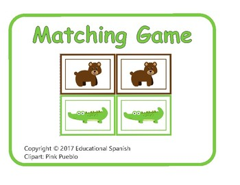 Matching game, animales zoológico / Zoo animals