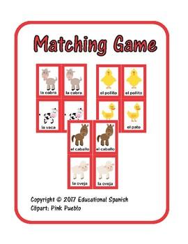 Matching game, animales  granja / Farm animals