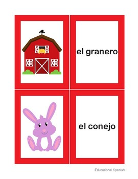 Matching game, animales  granja / Farm animals
