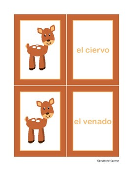 Matching game, animales  selva / Forest animals