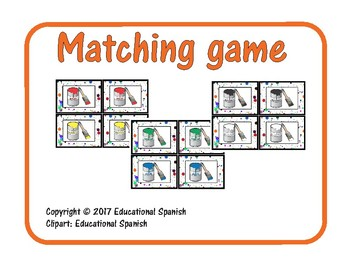 Matching game, colores / Spanish colors
