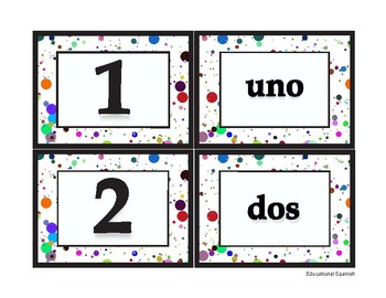 Matching game, números 1-20, Spanish numbers 1-20