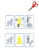 Matching game with picture symbols to learn how to build simple sentences