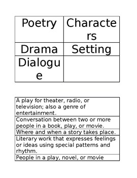 Matching literary terms sort