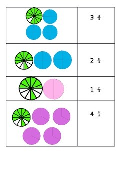 Matching mixed numeral fractions