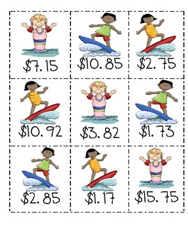 Matching money amounts from $2.00 to $20.00