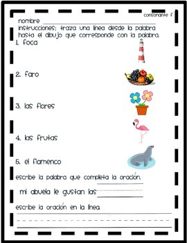 Matching spanish syllables Ff to picture