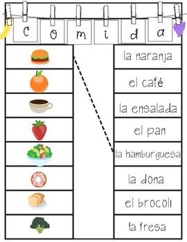 Matching-spanish vocabulary: 5 themes