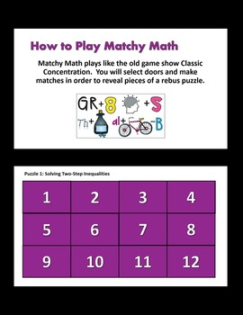 Matchy Math:  Solving Multi-Step Inequalities Game