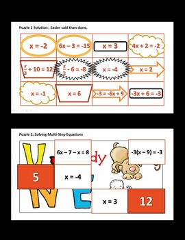 Matchy Math:  Solving Two-Step Equations and Multi-Step Equations Game