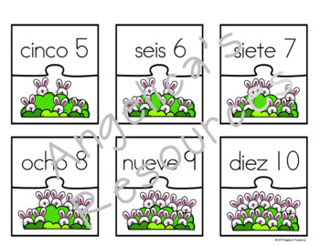 Spanish Numbers: Rompecabezas de Los Números -  Easter Activities - Puzzles