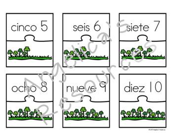 Spanish Numbers: Rompecabezas de Los Números - St. Patrick's Day Activiites