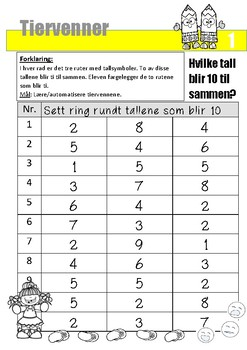 Matematikk: Tiervenner  - GRATIS