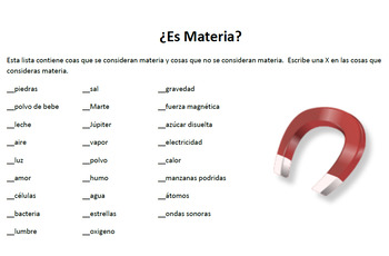 Spanish Matter Materia Warm Up or Exit Ticket FREEBIE