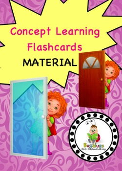 Material Concept Learning Flashcards targeting glass, plastic and wooden