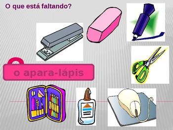 Material escolar (School objects in Portuguese) Mochila PowerPoint