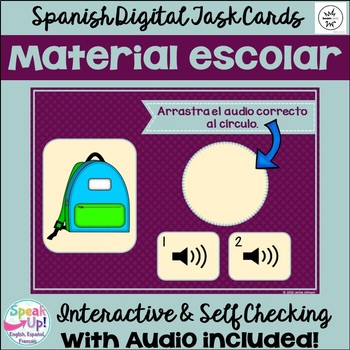 Material escolar ~ Spanish School Object Vocabulary BOOM Task Cards with Audio