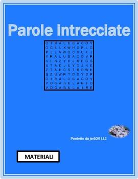 Materiali (materials in Italian) differentiated wordsearch