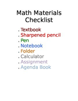 Materials Checklist