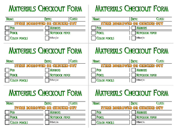 Materials Checkout Form