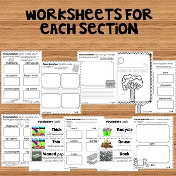 Materials In Our World: Kindergarten Foss Science Supplemental Worksheets