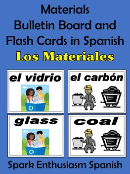 Materials (Los materiales) Bulletin Board and Flash Cards in Spanish