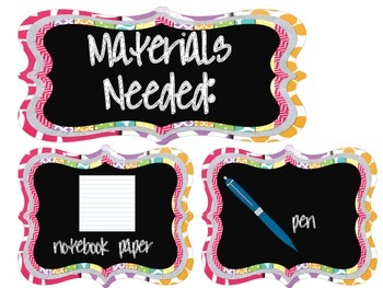 Materials Needed Posters Chalkboard Theme