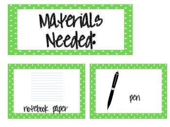 Materials Needed Posters Lime Green Polka Dots