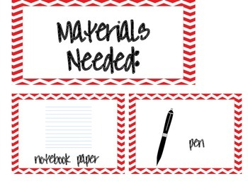 Materials Needed Posters Red Chevron