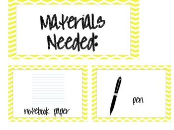 Materials Needed Posters Yellow Chevron