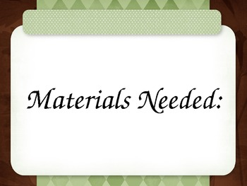 Materials Needed Signs