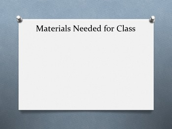 Materials Needed for Class - Mini Poster