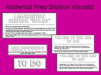 "Materials Prep Station ""Reminders"" {Visuals for Staff}"