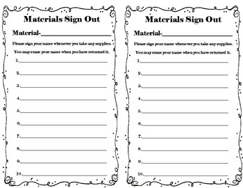 Materials Sign Out Sheet