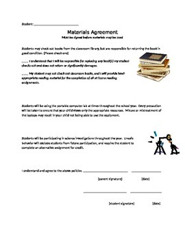 Classroom Materials Use Agreement