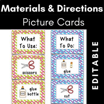 Materials and Directions Picture Cards Bundle {Editable}