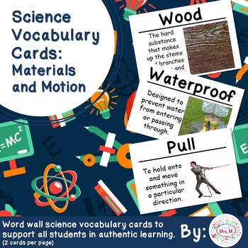 Materials and Motion Vocabulary Cards Large