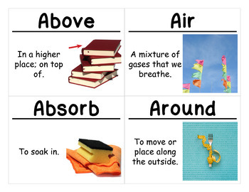 Materials and Motion Vocabulary Cards