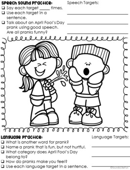 Materials by the Month: No Prep Activities for Speech & Language - April