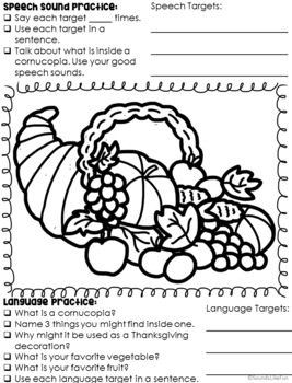 Materials by the Month: No Prep Activities for Speech & Language - November