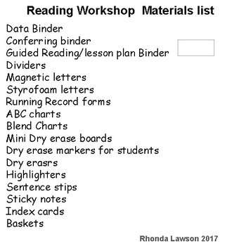 Materials checklist for Beginning teachers of Reading