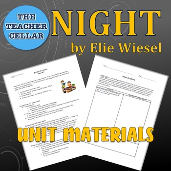 Unit Materials for Night by Elie Wiesel - Questions, Activities, Quizzes & More