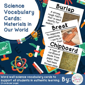 Materials in Our World Science Science Vocabulary Cards